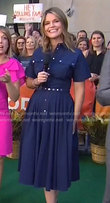 Savannah's blue button front pleated dress on Today