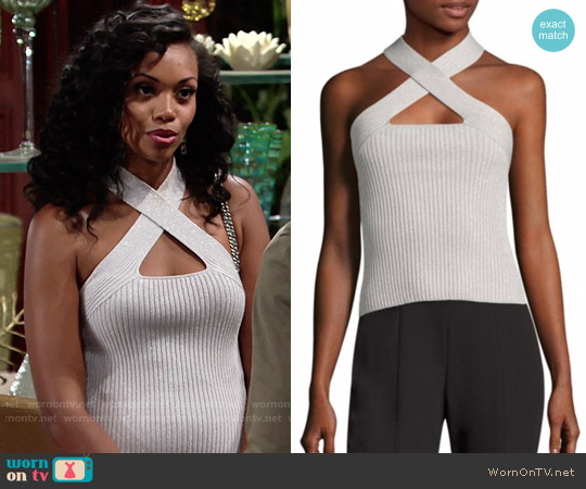 Scripted Metallic Crossover Rib-Knit Top worn by Mishael Morgan on The Young & the Restless