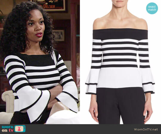 Scripted Striped Off-The-Shoulder Bell Sleeve Sweater worn by Mishael Morgan on The Young & the Restless