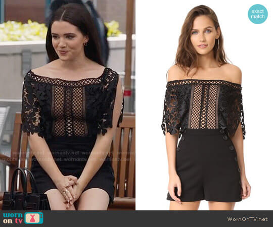 Self Portrait Off-Shoulder Romper worn by Katie Stevens on The Bold Type