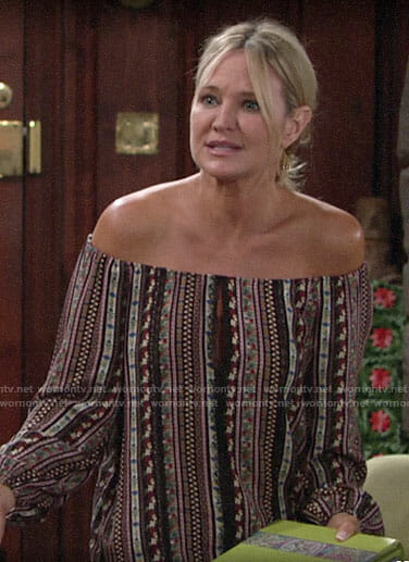Sharon's floral off-shoulder top on The Young and the Restless