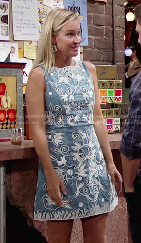 Sharon's denim dress with white embroidery on The Young and the Restless