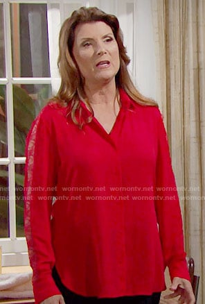 Sheila's red lace sleeve shirt on The Bold and the Beautiful
