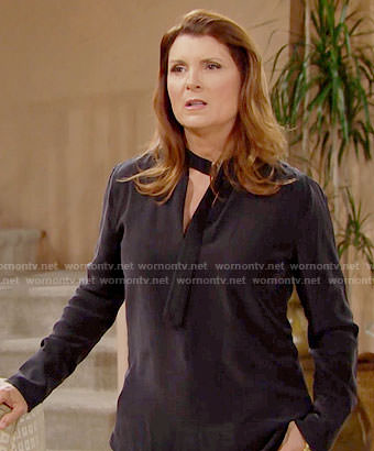 Sheila's black blouse with adjustable neck on The Bold and the Beautiful