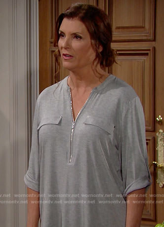 Sheila's grey zip-front top on The Bold and the Beautiful