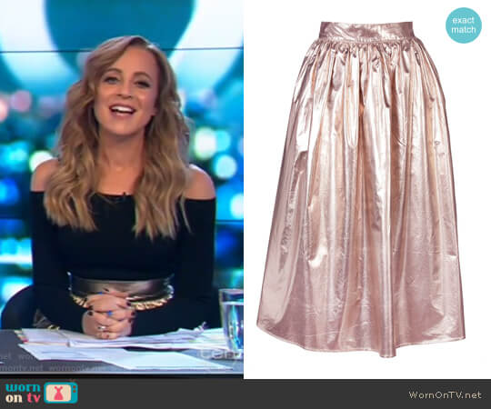 Full Metallic Skirt by Skin and Threads worn by Carrie Bickmore on The Project