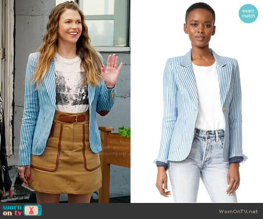 Smythe Blue Striped Duchess Blazer worn by Sutton Foster on Younger