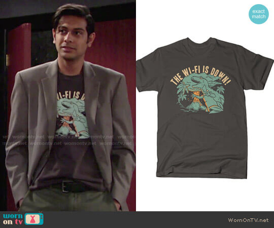 Snorg Tees The Wi-Fi is Down! T-shirt worn by Ravi Shapur (Abhi Sinha) on The Young & the Restless