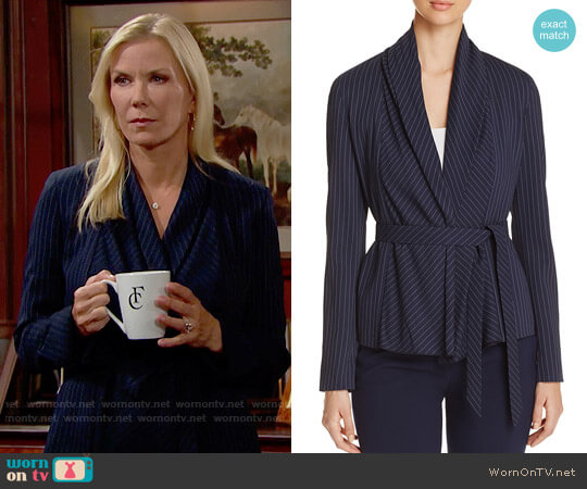 St. Emile Tokyo Pinstripe Belted Blazer worn by Katherine Kelly Lang on The Bold & the Beautiful