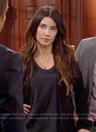 Steffy's black cold-shoulder blazer on The Bold and the Beautiful