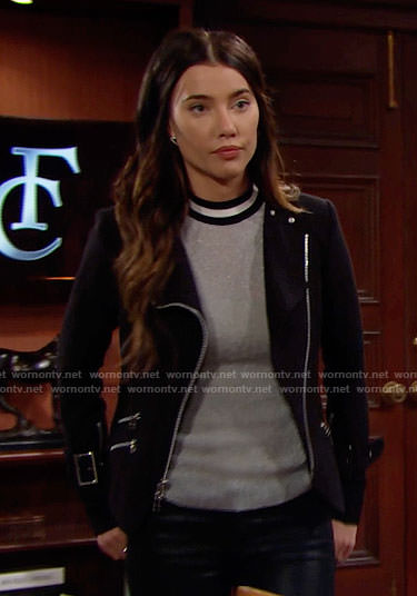 Steffy's silver top and black moto jacket on The Bold and the Beautiful