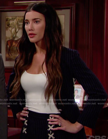 Steffy's pinstriped lace-up suit on The Bold and the Beautiful