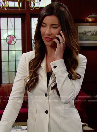 Steffy's white blazer with black buttons on The Bold and the Beautiful