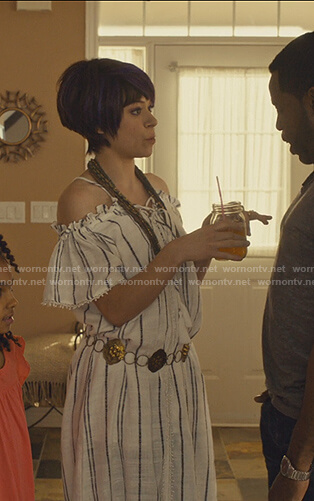 Alison's striped off shoulder maxi dress on Orphan Black
