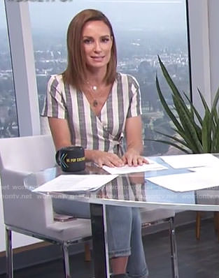 Catt's striped wrap top on E! News Daily Pop