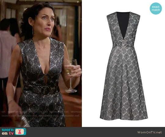 Suno Silver Screen Metallic Dress worn by Abby McCarthy (Lisa Edelstein) on GG2D
