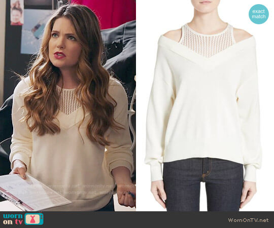 T by Alexander Wang Cotton Blend Sweater with Inner Tank worn by Meghann Fahy on The Bold Type