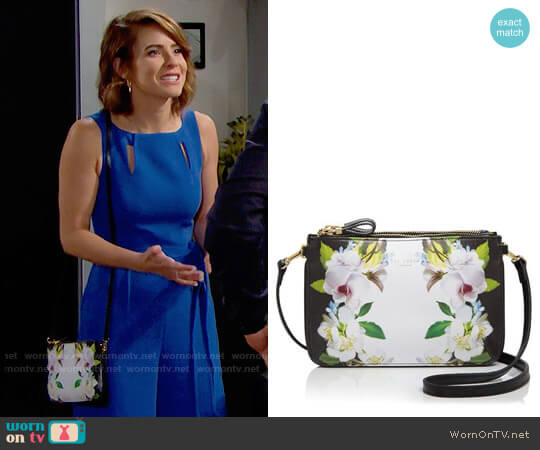 Ted Baker Forget Me Not Crosshatch Crossbody worn by Caroline Spencer on The Bold & the Beautiful