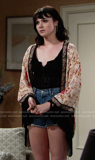Tessa's floral print fringed kimono on The Young and the Restless