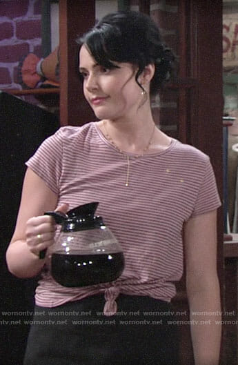 Tessa's pink striped tee with stars on The Young and the Restless