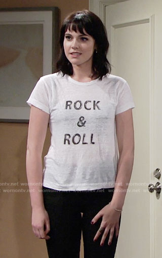 Tessa's Rock and Roll t-shirt on The Young and the Restless