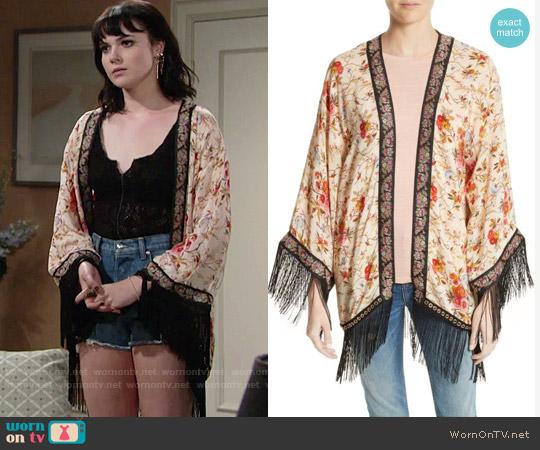 The Kooples Fleurs D'Artifice Floral Print Fringe Kimono worn by Tessa Porter on The Young & the Restless