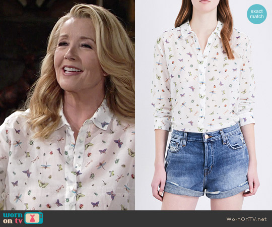 Ladybird Print Cotton Shirt by The Kooples worn by Melody Thomas-Scott on The Young & the Restless