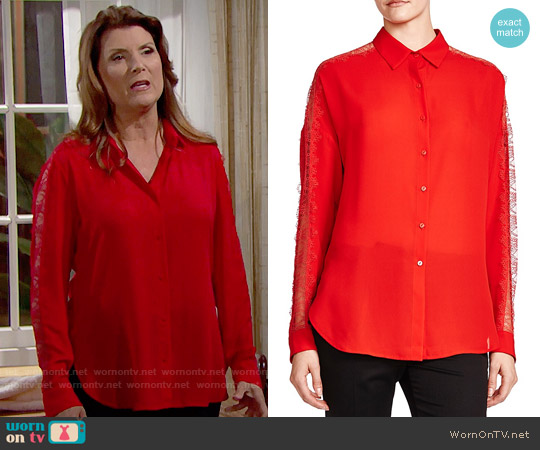 The Kooples Lace Detail Shirt worn by Kimberlin Brown on The Bold & the Beautiful
