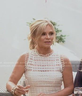 Tamra's white lace tiered dress on The Real Housewives of OC