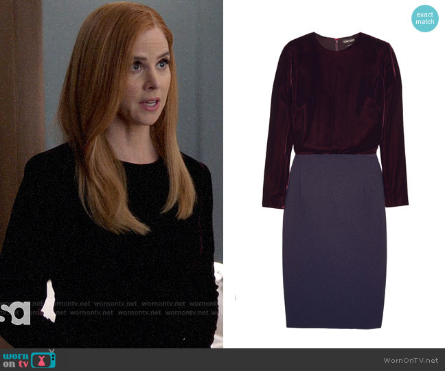Tom Ford Velvet and stretch-crepe dress worn by Donna Paulsen (Sarah Rafferty) on Suits