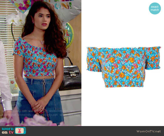 Topshop Floral Smocked Off the Shoulder Crop Top worn by Darlita (Danube Hermosillo) on The Bold & the Beautiful