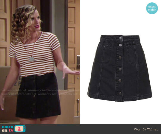 Topshop Button Front A-Line Denim Skirt worn by Melissa Claire Egan on The Young & the Restless
