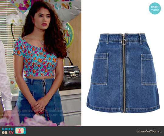 Topshop Patch Pocket A-Line Denim Miniskirt worn by Darlita (Danube Hermosillo) on The Bold & the Beautiful