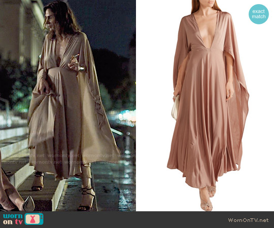 Valentino Cape-effect silk-jersey maxi dress worn by Samantha Delmonico (Annie Parisse) on Friends from College