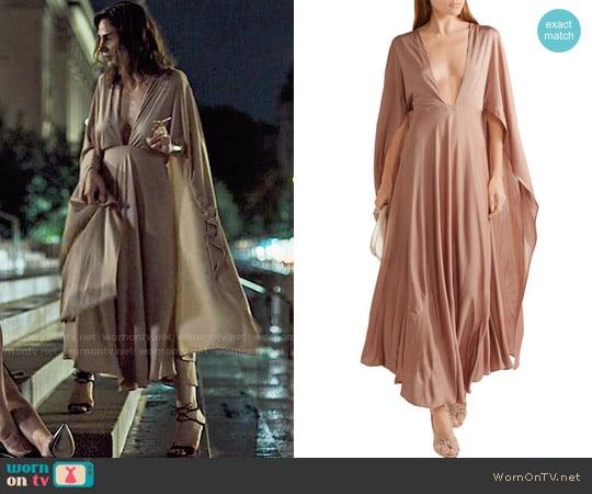 Valentino Cape-effect silk-jersey maxi dress worn by Annie Parisse on Friends from College