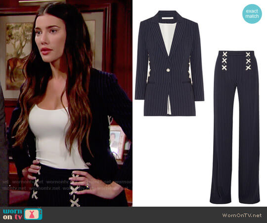 Veronica Beard Taylor Jacket and Quinn Pants worn by Steffy Forrester (Jacqueline MacInnes Wood) on The Bold & the Beautiful