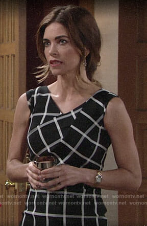Victoria's black and white checked dress on The Young and the Restless