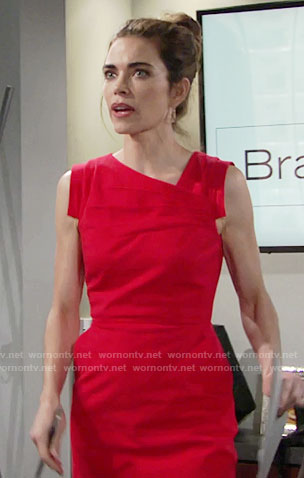 Victoria's red asymmetric neck dress on The Young and the Restless