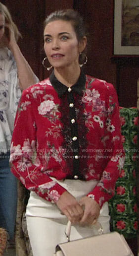 Victoria's red floral blouse with black lace on The Young and the Restless