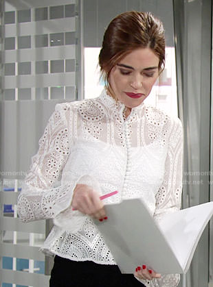Victoria's white ruffled eyelet top on The Young and the Restless