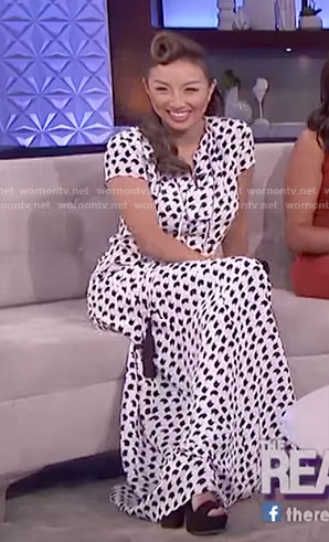 Jeannie's white crescent printed dress on The Real