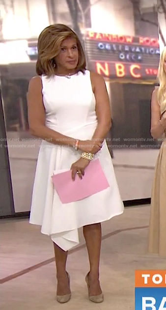 Hoda's white draped sleeveless dress on Today