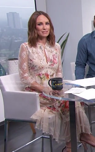 Catt's white floral lace dress with keyhole on E! News Daily Pop