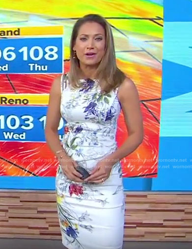 Ginger's white floral sleeveless dress on Good Morning America