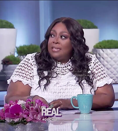 Loni's white lace ruffle top on The Real