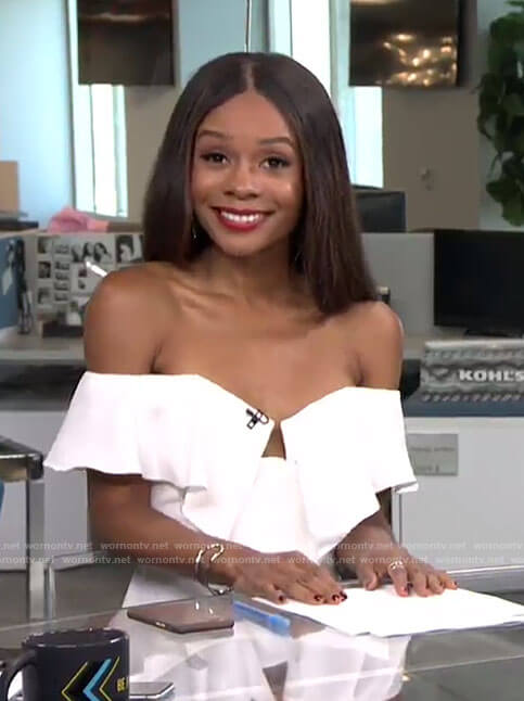 Zuri's white off-shoulder ruffled top on E! News Daily Pop