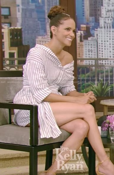 Halle Berry's white striped off-shoulder shirt on Live with Kelly and Ryan