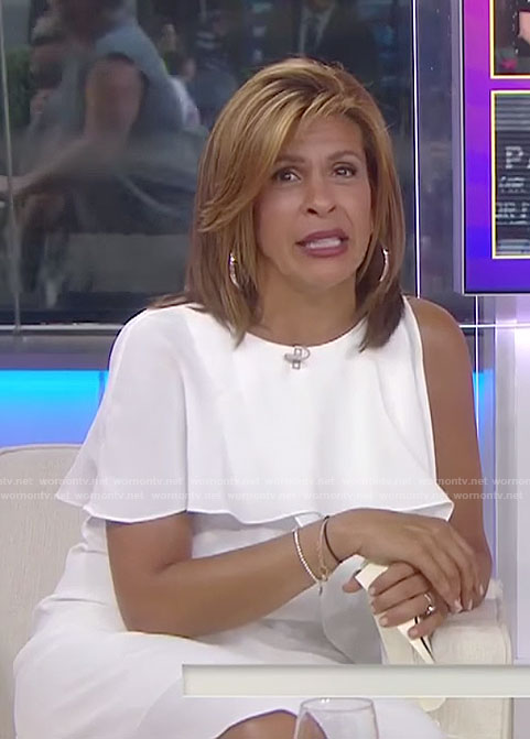 Hoda's white ruffle one-shoulder dress on Today