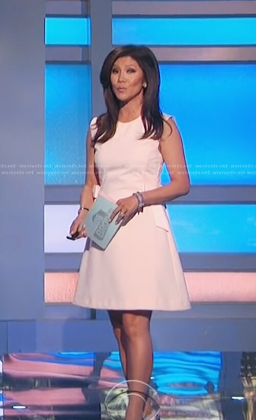 Julie's white side bow shift dress on Big Brother