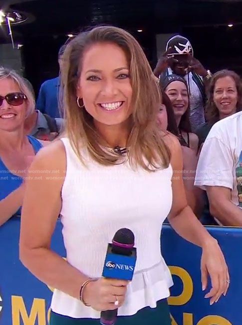 Ginger's white sleeveless peplum top on Good Morning America